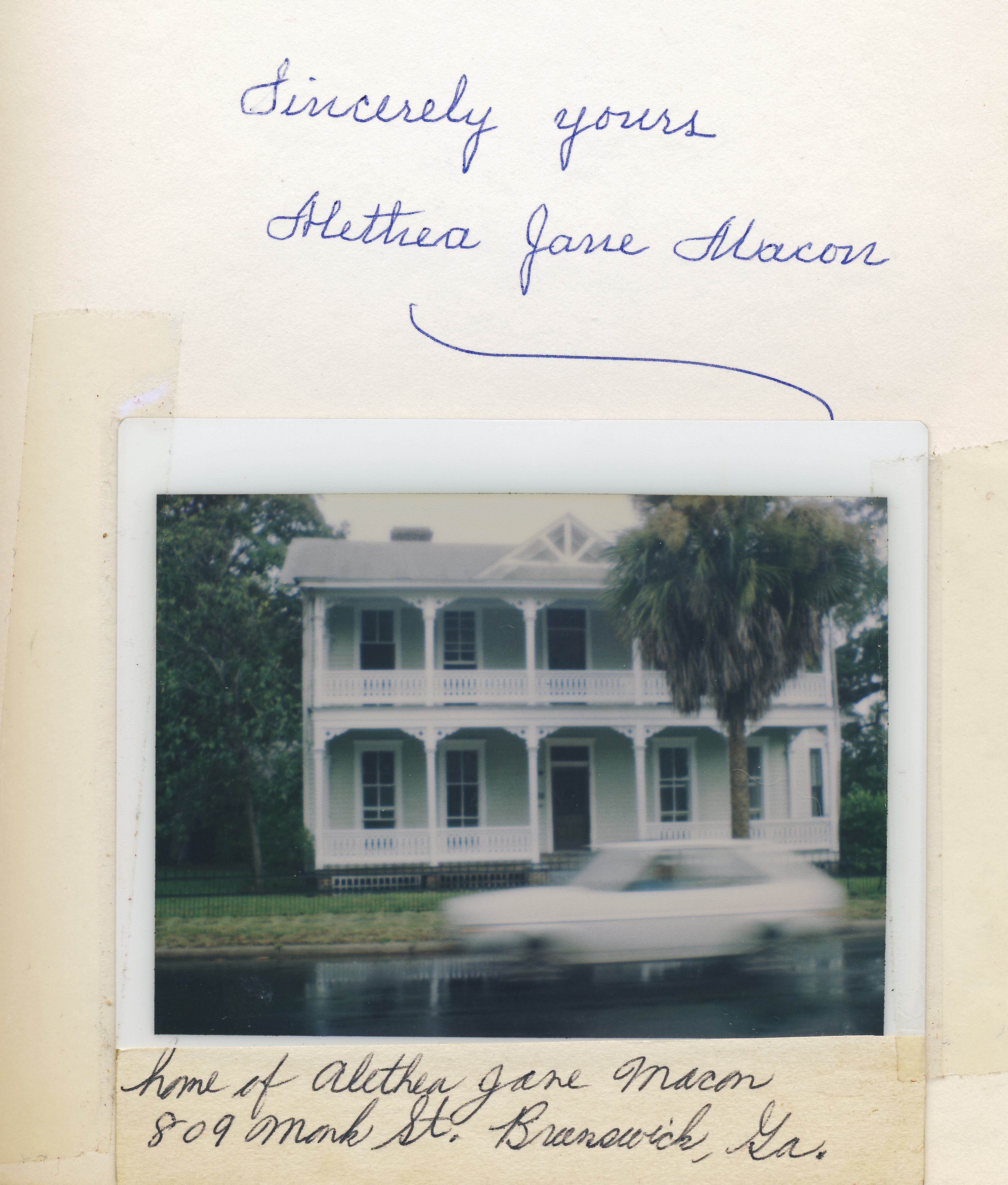 Signature and home of Alethea Jane Macon